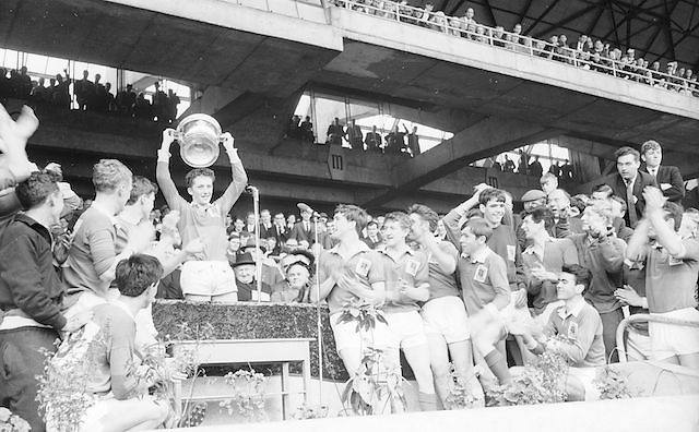 Winning Mayo team receive cup after defeat over Down at the All Ireland Minor Gaelic Football Final Mayo v. Down in Croke Park on the 25th September 1966.