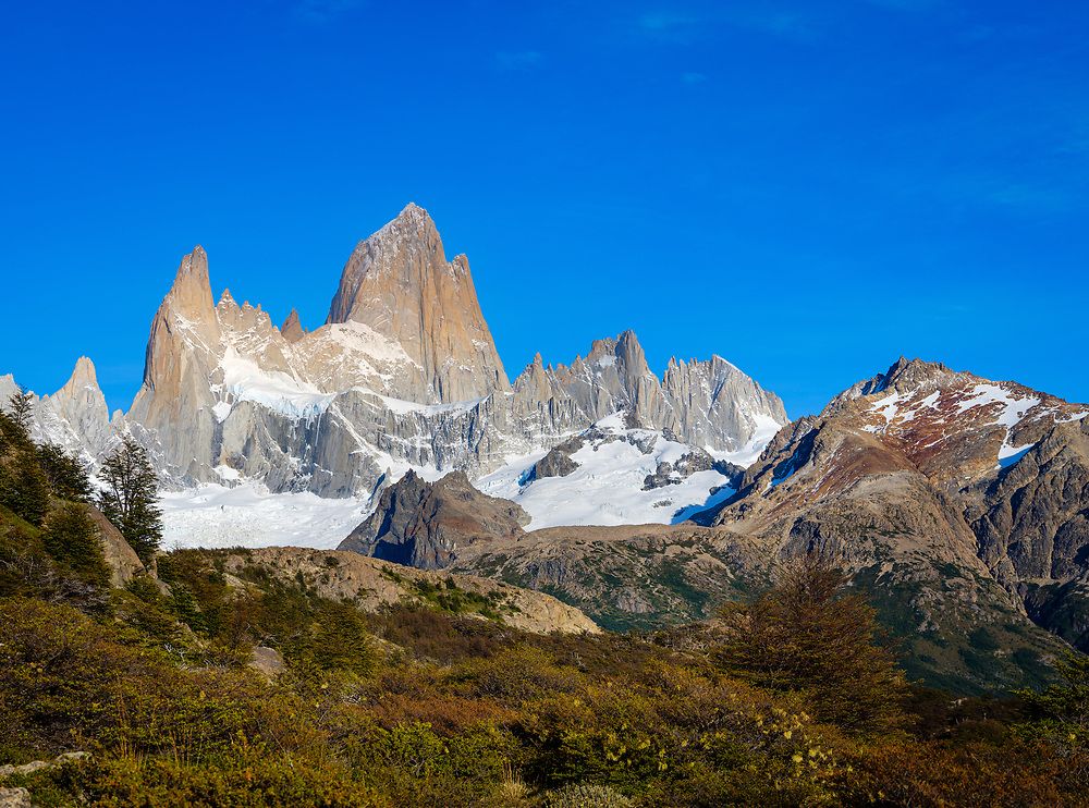 NATIONAL PARK LOS GLACIARES, ARGENTINA - CIRCA FEBRUARY 2019: Mountains at National Park los Glaciares in Argentina.