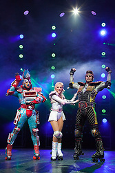 "© Licensed to London News Pictures. 11/05/2012. London, England. L-R: Mykal Rand as Electra, Amanda Coutts as Pearl, and Jamie Capewell as Greaseball. Andrew Lloyd Webber's rock musical ""Starlight Express"" opens at the New Wimbledon Theatre with a new cast before embarking on a UK tour. Choreography by Arlene Phillips. With Kristofer Harding as Rusty, Mykal Rand as Electra, Lothair Eaton as Poppa, Amanda Coutts as Pearl, Ruthie Stephens as Dinah, Kelsey Cobban as Duffy, Camilla Hardy as Buffy and Jamie Capewell as Greaseball. Photo credit: Bettina Strenske/LNP"