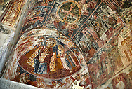 Picture & image the interior apse medieval frescoes of Theotokos, depicting the Virgin Mary, the Mother of God, and child, Khobi Georgian Orthodox Cathedral, 13th century,  Khobi Monastery, Khobi, Georgia. .<br /> <br /> Visit our MEDIEVAL PHOTO COLLECTIONS for more   photos  to download or buy as prints https://funkystock.photoshelter.com/gallery-collection/Medieval-Middle-Ages-Historic-Places-Arcaeological-Sites-Pictures-Images-of/C0000B5ZA54_WD0s<br /> <br /> Visit our REPUBLIC of GEORGIA HISTORIC PLACES PHOTO COLLECTIONS for more photos to browse, download or buy as wall art prints https://funkystock.photoshelter.com/gallery-collection/Pictures-Images-of-Georgia-Country-Historic-Landmark-Places-Museum-Antiquities/C0000c1oD9eVkh9c