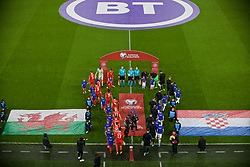 CARDIFF, WALES - Sunday, October 13, 2019: Wales and Croatia players walk out onto the pitch before the UEFA Euro 2020 Qualifying Group E match between Wales and Croatia at the Cardiff City Stadium. (Pic by Paul Greenwood/Propaganda)