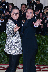 Stephen Colbert and Jimmy Fallon walking the red carpet at The Metropolitan Museum of Art Costume Institute Benefit celebrating the opening of Heavenly Bodies : Fashion and the Catholic Imagination held at The Metropolitan Museum of Art  in New York, NY, on May 7, 2018. (Photo by Anthony Behar/Sipa USA)