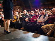 02 JANUARY 2020 - JOHNSTON, IOWA: People listen to Senator Amy Klobuchar (D-MN) during a campaign event in the Simpson Barn, an event space in Johnston, a suburb of Des Moines. More than 500 people attended the event, the largest crowd to attend a Klobuchar event so far. Sen. Klobuchar is campaigning to be the Democratic nominee for the US Presidency. Iowa holds the first selection event of the Presidential election cycle. The Iowa caucuses are Feb. 3, 2020.         PHOTO BY JACK KURTZ