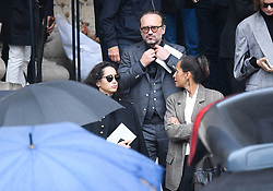 Vincent Perez, Karine Silla and their daughter Iman Perez leaving the funeral service for late photographer Peter Lindbergh held at Saint Sulpice church in Paris, France on September 24, 2019. Photo by ABACAPRESS.COM
