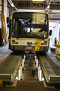 A Ghent De Lijn electric tramcar undergoing essential maintenance in the company's depot on Brusselsesteenweg in Gentbrugge, Ghent, Belgium.
