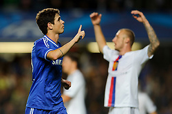 Chelsea Midfielder Oscar (BRA) celebrates scoring a goal during the first half of the match - Photo mandatory by-line: Rogan Thomson/JMP - Tel: 07966 386802 - 18/09/2013 - SPORT - FOOTBALL - Stamford Bridge, London - Chelsea v FC Basel - UEFA Champions League Group E
