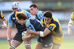Bryce Heem of Worcester Warriors tackles Teri Gee of Cardiff Blues - Mandatory by-line: Dougie Allward/JMP - 04/02/2017 - RUGBY - BT Sport Cardiff Arms Park - Cardiff, Wales - Cardiff Blues v Worcester Warriors - Anglo Welsh Cup