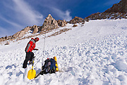 Backcountry skier using avalanche gear, Inyo National Forest, Sierra Nevada Mountains, California