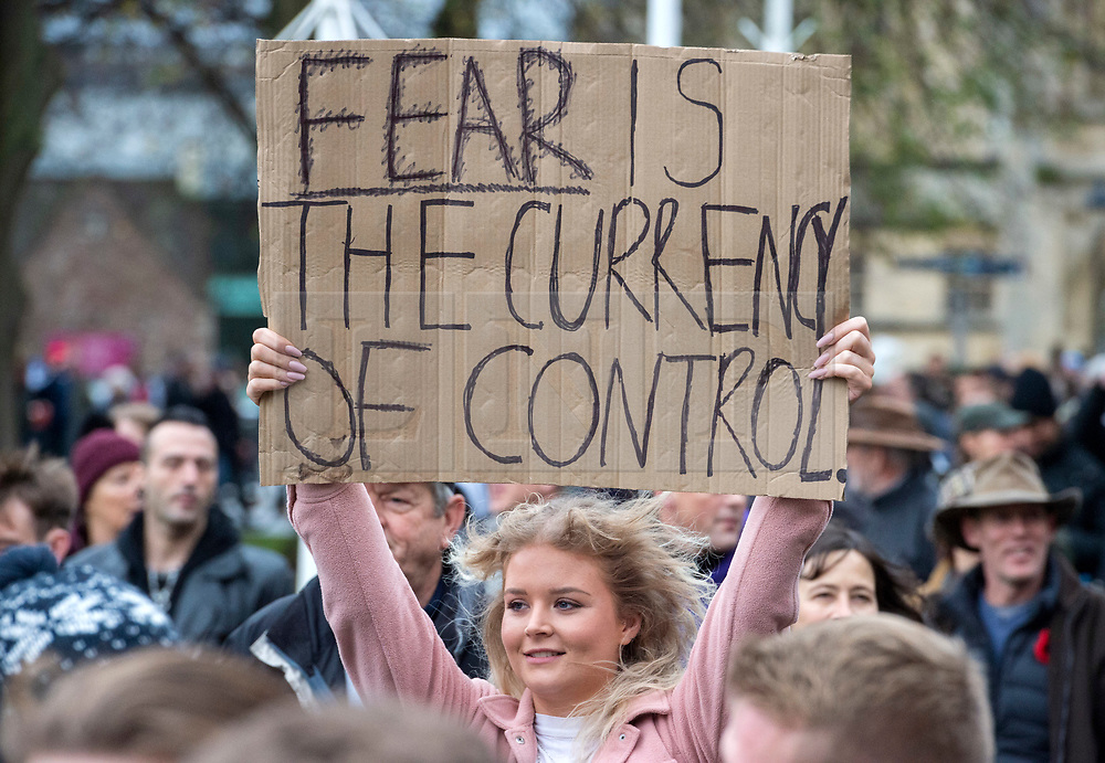 © Licensed to London News Pictures; 14/11/2020; Bristol, UK. People hold placards at an Anti-Lockdown protest march and rally by Stand Up Bristol and StandUpX2, against the Covid-19 lockdown during the coronavirus pandemic, takes place on College Green in front of Bristol City Hall. Protests have been declared illegal under the current Covid-19 lockdown as people are not allowed to meet in more than groups of two and police have threatened arrests and fines against those attending. Police arrested several people. The protest is against Lockdowns, Isolation of the Elderly, Ruined Childhoods, Business Closures, Masks, Government Interference in Private Life and is part of a series of protests today in Sheffield, Wolverhampton, Portsmouth, Bristol and Bournemouth. England is under a national lockdown, sometimes known as lockdown 2.0, as the UK Government tries to stop the spread of the covid-19 coronavirus pandemic. From 05 November lockdown restrictions came into force across England with all pubs, bars, restaurants and entertainment venues shut as well as all non-essential shops. People have been told to stay at home except for work, education, exercise or essential shopping and each person can only meet one other person from outside their household in an outdoors public space. Photo credit: Simon Chapman/LNP.
