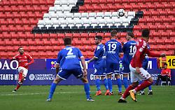 Charlton Athletic's Ricky Holmes hits a freekick towards goal
