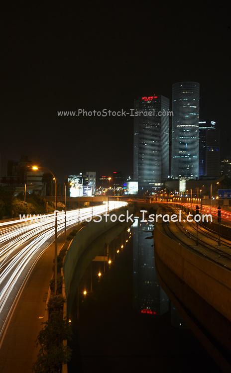 Israel, Tel Aviv, Long exposure Night shot of Ayalon highway Azrieli high rises on the right