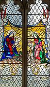Stained glass window in church of Saint John the Baptist, Badingham, Suffolk, England, UK by Hugh Easton 1928, Badingham, Suffolk, England, UK childhood of Jesus Christ