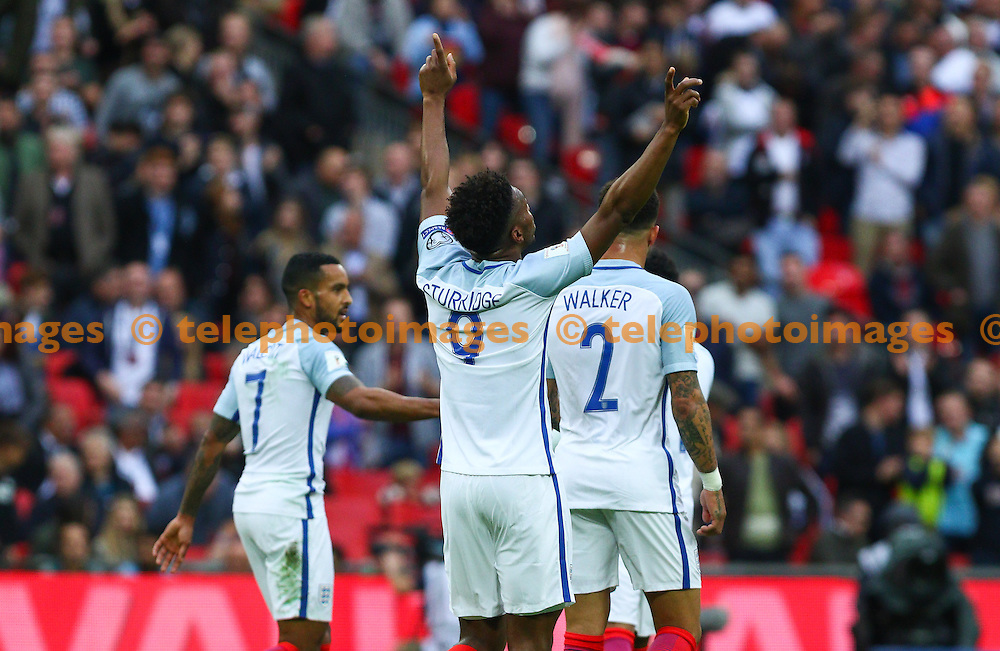 Daniel Sturridge of England (9) celebrates scoring during the FIFA World Cup Qualifier match between England and Malta at Wembley Stadium in London. October 8, 2016.<br /> Arron Gent / Telephoto Images<br /> +44 7967 642437