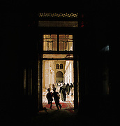 Worshippers inside the Umayyad Mosque, the Grand Mosque of Damascus, in Damascus, Syria