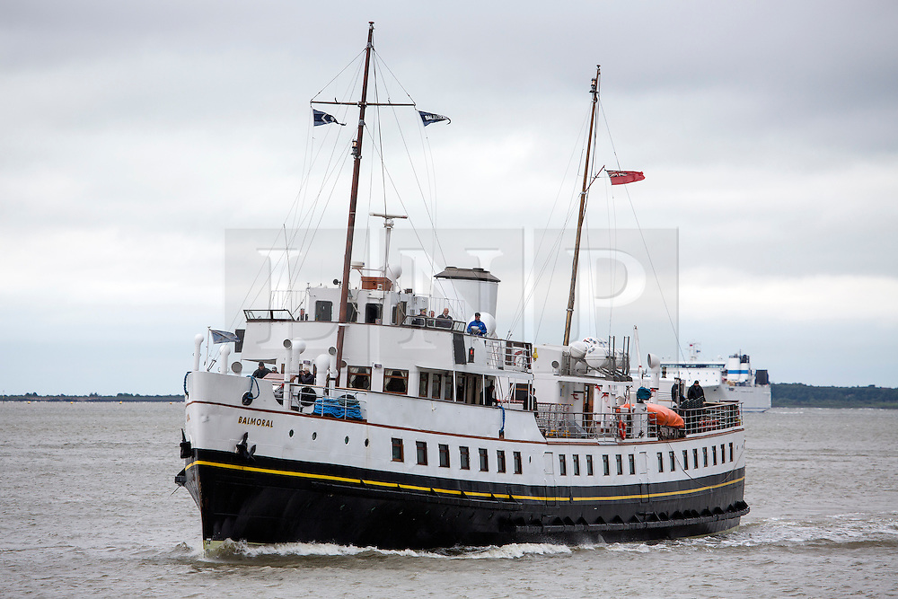 © Licensed to London News Pictures. 31/05/2016. MV Balmoral seen at Gravesend in rainy, windy conditions today. Popular heritage excursion ship MV Balmoral has returned to the Thames for the first time since 2012. The ship, listed on the National Historic Fleet register, was laid up in 2013 and her future looked uncertain but a Bristol-based charity was formed to preserve the vessel and return to her use. She will be undetaking journeys up and down the Thames and around the coast throughout June.  Credit : Rob Powell/LNP
