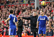 Jose Mourinho manager of Chelsea makes his point to Cesc Fabregas of Chelsea  - Barclays Premier League - Liverpool vs Chelsea - Anfield Stadium - Liverpool - England - 8th November 2014  - Picture Simon Bellis/Sportimage