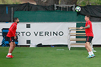 Atletico de Madrid's Augusto Fernandez (l) and Fernando Torres during the first training session 2017/2018 season. July 6, 2017. (ALTERPHOTOS/Acero)