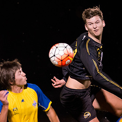 BRISBANE, AUSTRALIA - AUGUST 26: Rhys Gwynn-Jones of Moreton Bay heads the ball during the NPL Queensland Senior Men's Semi Final match between Brisbane Strikers and Moreton Bay Jets at Perry Park on August 26, 2017 in Brisbane, Australia. (Photo by Patrick Kearney)