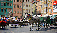 Horse and carriage in the Old Town Square in Warsaw, Poland.