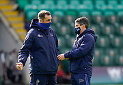 Sale Sharks Director of Rugby Alex Sanderson talks with Head Coach Paul Deacon before a Gallagher Premiership Round 13 Rugby Union match, Saturday, Mar. 13, 2021, in Northampton, United Kingdom. (Steve Flynn/Image of Sport)