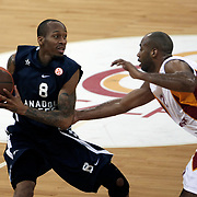 Anadolu Efes's Terence Kinsey (L) during their Euroleague Top 16 basketball match Galatasaray MP between Anadolu Efes at the Abdi Ipekci Arena in Istanbul at Turkey on Wednesday, February, 22, 2012. Photo by TURKPIX