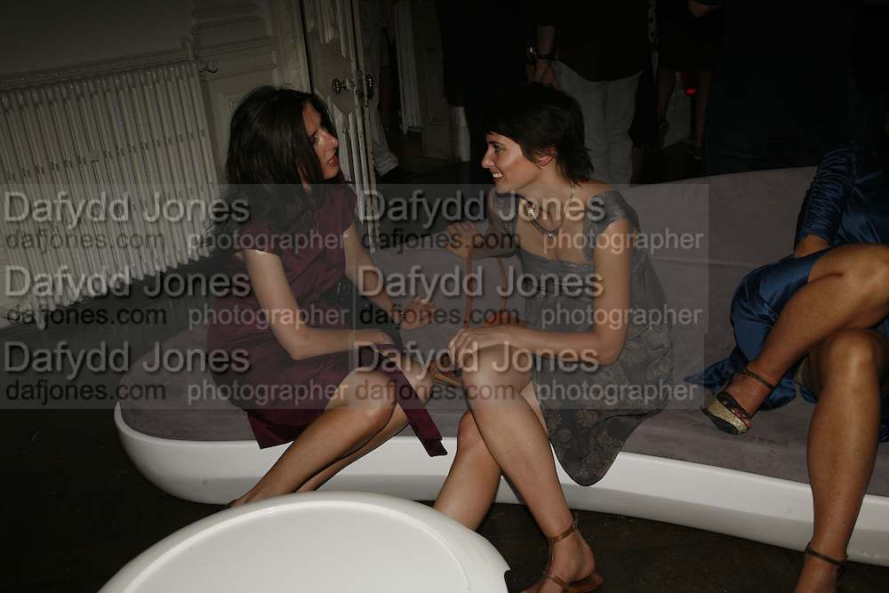 Ciara Walshe and Sorcha O'Callaghan, Established and Sons celebrate the launch of a Red Production 'Aqua Table' by Zaha Hadid. ( Profits from Sales will go to Red Campaign HIV treatment in Africa) Grosvenor Place. London. 23 September 2006.  ONE TIME USE ONLY - DO NOT ARCHIVE  © Copyright Photograph by Dafydd Jones 66 Stockwell Park Rd. London SW9 0DA Tel 020 7733 0108 www.dafjones.com