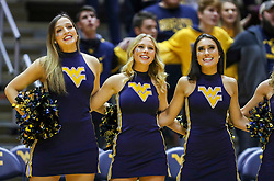 Mar 20, 2019; Morgantown, WV, USA; West Virginia Mountaineers dance team members sing after beating the Grand Canyon Antelopes at WVU Coliseum. Mandatory Credit: Ben Queen