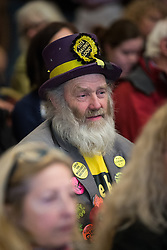 © Licensed to London News Pictures . 18/11/2014 . Kent , UK . Monster Raving Loony Party candidate HAIRY KNORM DAVIDSON , at a hustings in the Rochester and Strood by-election , held at the Corn Exchange in Rochester , this evening ( 18th November 2014 ) . Photo credit : Joel Goodman/LNP