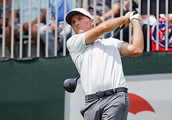 June 24, 2018 - Cromwell, CT, U.S. - CROMWELL, CT - JUNE 24:  Russell Henley of the United States ees off on 1 during the Final Round of the Travelers Championship on June 24, 2018 at TPC River Highlands in Cromwell, CT (Photo by Joshua Sarner/Icon Sportswire) (Credit Image: © Joshua Sarner/Icon SMI via ZUMA Press)