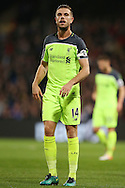 Jordan Henderson, the Liverpool captain looking on. Premier League match, Crystal Palace v Liverpool at Selhurst Park in London on Saturday 29th October 2016.<br /> pic by John Patrick Fletcher, Andrew Orchard sports photography.