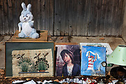 Items for sale in a brocante on the 17th September 2016, in the village of Lagrasse, France. Brocante, in French, means 'second hand', and these can come in the form of street markets or an indoor market, where vintage goods and antiques are sold by sellers.