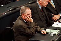 20 JAN 2000, BERLIN/GERMANY:<br /> Wolfgang Schäuble, CDU Vorsitzender und CDU/CSU Fraktionsvorsitzender, während der Debatte zur CDU Spendenaffäre, Plenum, Deutscher Bundestag<br /> Wolfgang Schaeuble, Chairman of the Christian Democratic Union and the CDU/CSU parliamentary group, during the debate about the affair of secret donations to the CDU, plenary, German Bundestag<br /> IMAGE: 20000120-01/03-08