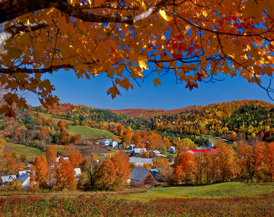 Sugar maple branch frames view of New England village in fall, East Topsham, VT