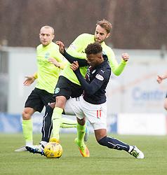 Hibernian's Andrew Shinnie and Falkirk's Myles Hippolyte. Falkirk 1 v 2 Hibernian, Scottish Championship game played 31/12/2016 at The Falkirk Stadium .