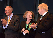 © London News Pictures. 04/05/2012. London, UK. (left to right) KEN LIVINGSTONE, JENNY JONES, BORIS JOHNSON. BORIS JOHNSON speaks after being elected as Mayor of London at London City Hall on May 4, 2012. Johnson, a Conservative member of Parliament, defeated Ken Livingstone to become mayor of London for a second term. Photo credit: Stephen Simpson/LNP