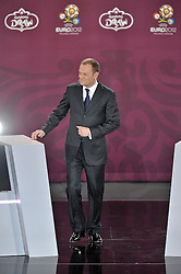 POLISH PRIME MINISTER DONALD TUSK DURING THE EUFA EURO 2012 QUALIFYING DRAW IN PALACE SCIENCE AND CULTURE IN WARSAW, POLAND..THE 2012 EUROPEAN SOCCER CHAMPIONSHIP WILL BE HOSTED BY POLAND AND UKRAINE...WARSAW, POLAND , FEBRUARY 07, 2010..( PHOTO BY ADAM NURKIEWICZ / MEDIASPORT / SPORTIDA.COM ).