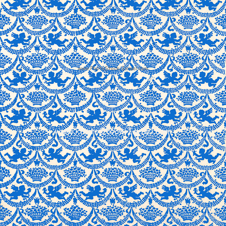 Repeating pattern of Blue winged angelic cherubs