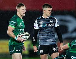 Kieran Marmion of Connacht and Reuben Morgan-Williams of Ospreys wait for the scrum<br /> <br /> Photographer Simon King/Replay Images<br /> <br /> Guinness PRO14 Round 6 - Ospreys v Connacht - Saturday 2nd November 2019 - Liberty Stadium - Swansea<br /> <br /> World Copyright © Replay Images . All rights reserved. info@replayimages.co.uk - http://replayimages.co.uk