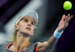 DOHA, Feb. 14, 2019  Lesia Tsurenko of Ukraine serves during the women's singles second round match between Simona Halep of Romania and Lesia Tsurenko of Ukraine at the 2019 WTA Qatar Open in Doha, Qatar, Feb. 13, 2019. Lesia Tsurenko lost 0-2. (Credit Image: © Nikku/Xinhua via ZUMA Wire)