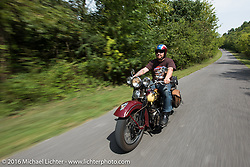 After his HD VL suffered a catastrophic failure, Jason Sims rides a 1939 Harley-Davidson Knucklehead from Carl's Cycles during Stage 5 of the Motorcycle Cannonball Cross-Country Endurance Run, which on this day ran from Clarksville, TN to Cape Girardeau, MO., USA. Tuesday, September 9, 2014.  Photography ©2014 Michael Lichter.