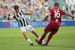 August 19, 2017 - Turin, Piedmont, Italy - Paulo Dybala (Juventus FC) and Farag (Cagliari Calcio)  compete for the ball during the Serie A football match between Juventus FC and Cagliari Calcio at Allianz Stadium on august 19, 2017 in Turin, Italy. (Credit Image: © Massimiliano Ferraro/NurPhoto via ZUMA Press)