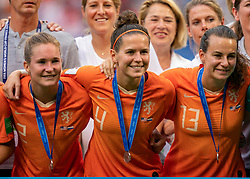 07-07-2019 FRA: Final USA - Netherlands, Lyon<br /> FIFA Women's World Cup France final match between United States of America and Netherlands at Parc Olympique Lyonnais. USA won 2-0 / Desiree van Lunteren #2 of the Netherlands, Merel van Dongen #4 of the Netherlands, Renate Jansen #13 of the Netherlands
