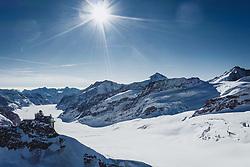 15.01.2020, Jungfrauenjoch, Wengen, SUI, FIS Weltcup Ski Alpin, Vorberichte, im Bild Jungfraujoch mit Sphinx Observatorium im Hintergrund der Aletschgletscher // Jungfraujoch with Sphinx Observatory in the background the Aletsch Glacier during a preliminary reports prior to the FIS ski alpine world cup at the Jungfrauenjoch in Wengen, Switzerland on 2020/01/15. EXPA Pictures © 2020, PhotoCredit: EXPA/ Johann Groder **** ACHTUNG - dieses Bilddatei ist für den Grossformatdruck in einer maximalen Grösse mit mehr als 18142 x 6717 pixel (ca. 700 MB) verfügbar! Fragen Sie nach den hochauflösenden Daten // ATTENTION - This image file is for Large Format Printing available in a maximum size of more then 18142 x 6717 pixels (about 700 MB)! Ask for the high-resolution data. ****