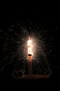 Medical science - hypodermic syringe disperses lighting and fireworks