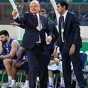 Anadolu Efes's coach Dusan Ivkovic (L) during their Turkish Basketball League match Darussafaka Dogus between Anadolu Efes at Ayhan Sahenk Arena in Istanbul Turkey on Wednesday 29 April 2015. Photo by Kurtulus YILMAZ/TURKPIX