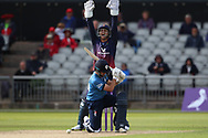 Derbyshires Tom Lace LBW during the Royal London 1 Day Cup match between Lancashire County Cricket Club and Derbyshire County Cricket Club at the Emirates, Old Trafford, Manchester, United Kingdom on 2 May 2019.