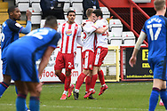 Stevenage forward Luke Norris (36) scores a goal 2-1 and celebrates during the EFL Sky Bet League 2 match between Stevenage and Carlisle United at the Lamex Stadium, Stevenage, England on 20 March 2021.