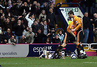 Photo: Mark Stephenson/Sportsbeat Images.<br /> West Bromwich Albion v Wolverhampton Wanderers. Coca Cola Championship. 25/11/2007.West Brom are awarded a penalty after Neil Collins (C)  brought down Graig Beattie (L)