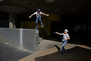 Boys practice videoing their skateboard jump trick off a high wall beside the Undercroft on the Southbank, London, United Kingdom. The undercroft of the foyer building of the Queen Elizabeth Hall on the South Bank has been popular with skateboarders since the early 70's and it is widely acknowledged to be London's most distinctive and popular skateboarding area. The area is used by skateboarders, BMXers, graffiti artists, taggers, photographers, buskers, and performance artists, among others. The South Bank is a significant arts and entertainment district, and home to an endless list of activities for Londoners, visitors and tourists alike. (photo by Mike Kemp/In Pictures via Getty Images)