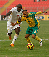 Photo: Steve Bond/Richard Lane Photography.<br />Senegal v South Africa. Africa Cup of Nations. 31/01/2008. Nasief Morris (R) tries to fend off Mamadou Niang (L)